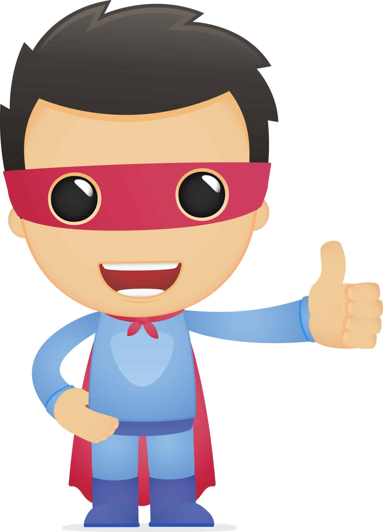 Superhero character with thumbs up