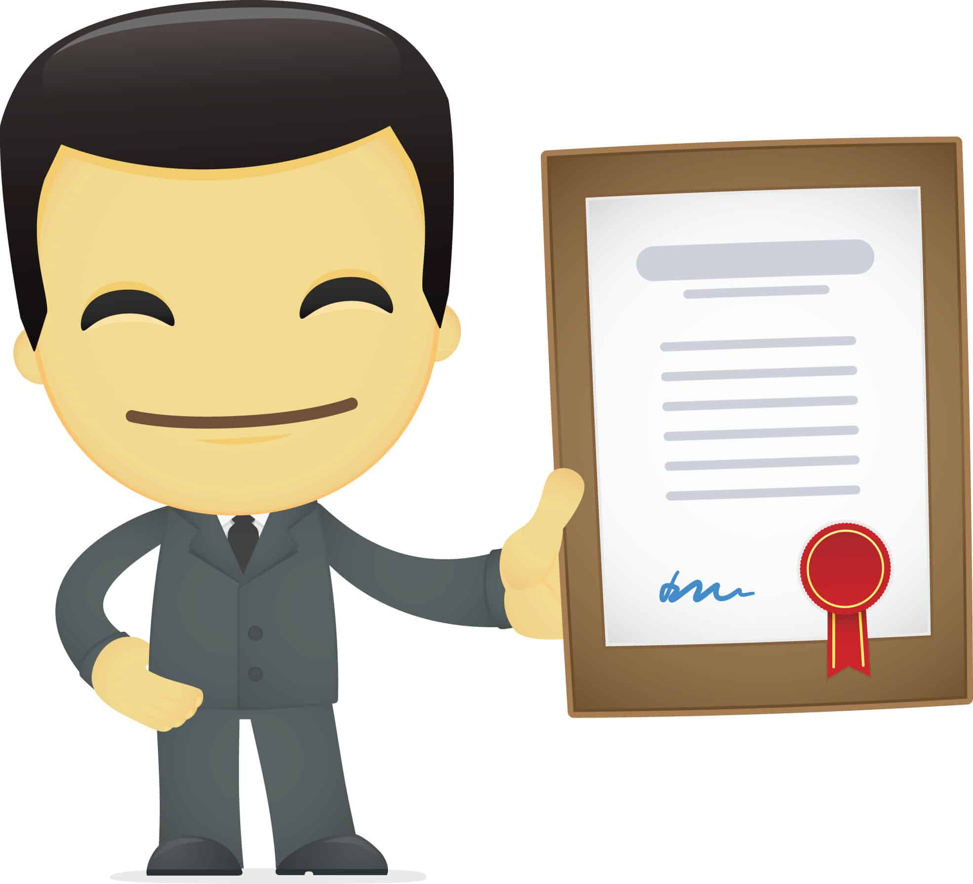 character holding certificate