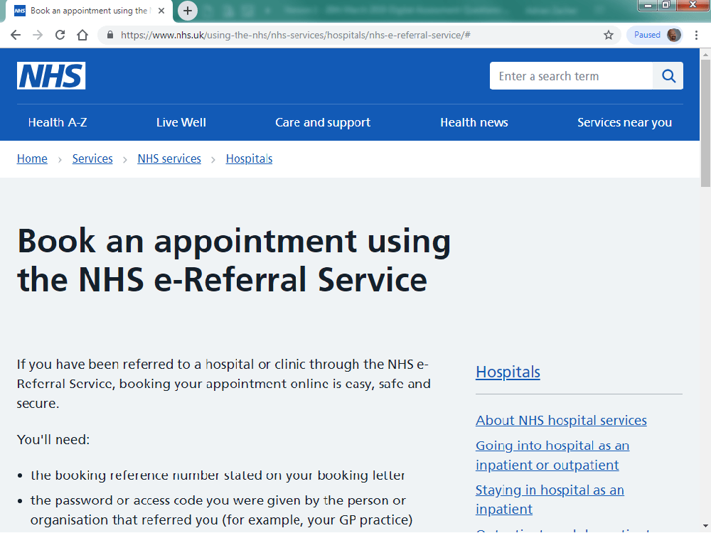 NHS e-referral service