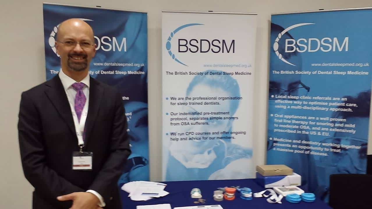 Adrian on the BSDSM stand at the British Sleep Society meeting in Gateshead